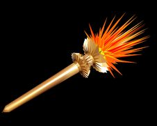 Free Gold Torch On A Black Background. Royalty Free Stock Photography - 4854717