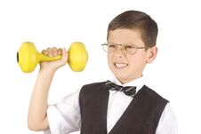 Young Boy Lifting Weights Stock Photos