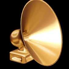 Free Gold Loudspeaker On A Black Background. Stock Images - 4855134