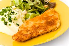 Free Viennese Schnitzelwith Puree Potatoes Royalty Free Stock Photos - 4856038