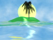 Free Island With A Palm Tree Royalty Free Stock Images - 4857199