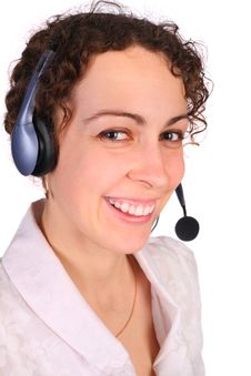 Free Young Woman With Headset Royalty Free Stock Photography - 4858387