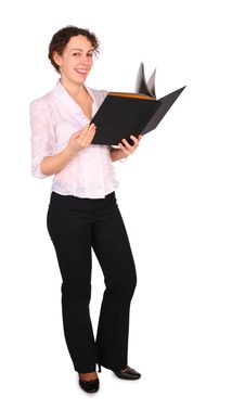 Free Young Woman With Black Folder Stock Photography - 4858392
