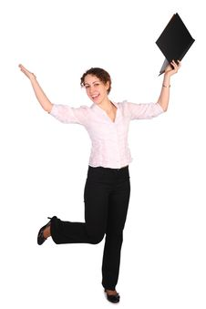Free Young Woman With Folder Dancing Royalty Free Stock Photography - 4858397