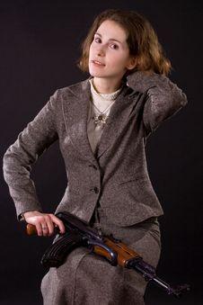 Free Businesswoman With Submachine Gun Stock Photos - 4859013