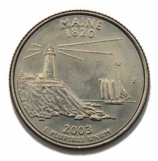 Maine US Quarter Dollar Stock Photos