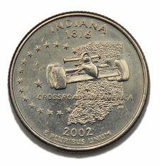 Indiana US Quarter Dollar Stock Photo