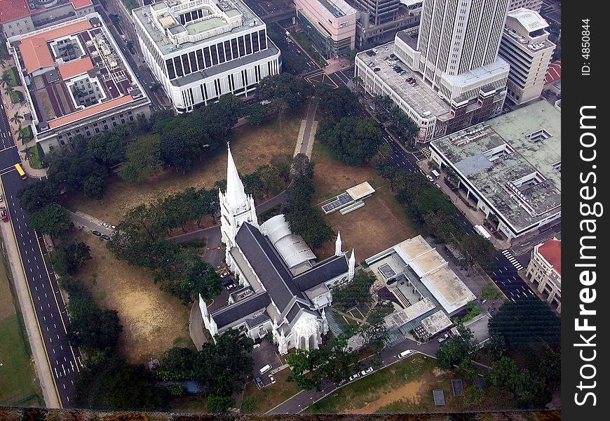 Singapore. View overlooking a cathedral