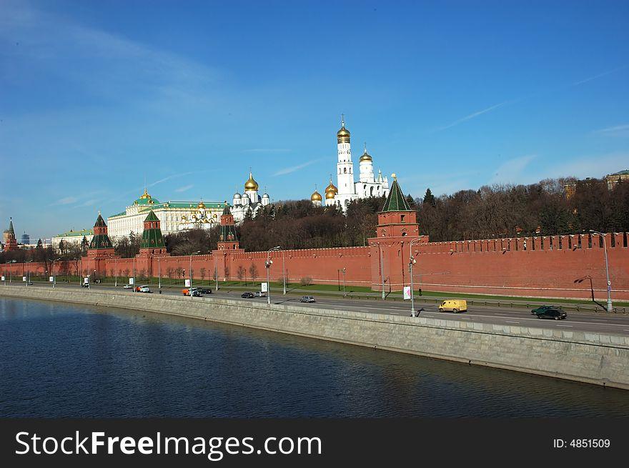 General view at Moscow Kremlin and Moskva river