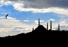 Silhouettes Mosque Stock Photos