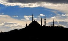 Silhouettes Mosque Stock Photo