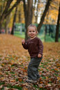 Free Little Beauty Girl In The Autumn Park Stock Images - 4861644