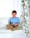 Free Happy Boy And Bunny On Swing Stock Photos - 4864813