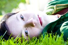 Free Young Woman In The Grass Royalty Free Stock Image - 4860646