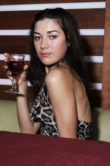 Free Girl With A Glass Of Wine Royalty Free Stock Image - 4861696