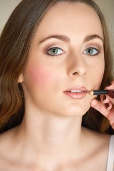 Free Make-up Lip Pencil On Young Woman Stock Photos - 4861883