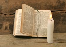 Prayer Book And Candle Royalty Free Stock Photo