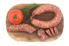 Sausage With Tomato And Dill Stock Photography