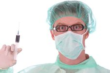 Free Surgeon With Injection Royalty Free Stock Photography - 4864107