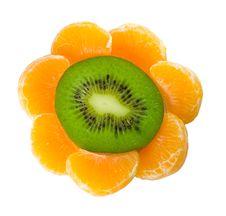 Kiwi And Tangerine As Flower Stock Photo