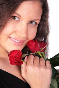Free Portrait Girl With Red Roses Stock Photos - 4864143