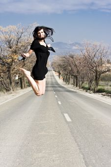 Free Happy Girl Jumping Royalty Free Stock Images - 4865219