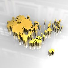3d Golden Map Of Aaland Royalty Free Stock Images