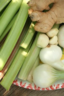 Rhubarb Onion Ginger And Garlic Royalty Free Stock Photos