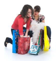 Free Expressive Girls Shopping Stock Images - 4866764