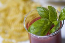 Tomato Sauce And Basil Royalty Free Stock Photo