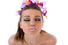 Free Girl With Face-art Butterfly Paint Stock Photography - 4867112
