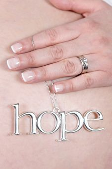 Hope Sign On Belly Of Pregnant Woman Royalty Free Stock Image