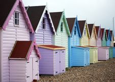 Free Beach Huts In A Row Royalty Free Stock Photography - 4870247