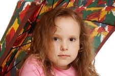 Little Girl And Umbrella Stock Photography