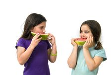 Free Two Girls Eating Watermelon Royalty Free Stock Photo - 4871945