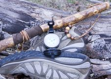 Hicking Shoes, Walking Stick And Compass Royalty Free Stock Image