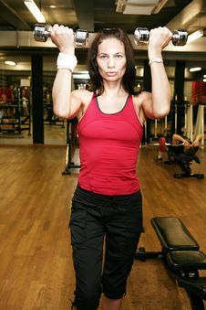 Free Woman With Dumbbells Stock Photography - 4872592