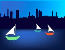 Free Sailboat Skyline Royalty Free Stock Photo - 4873185