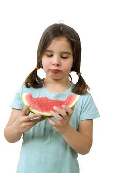 Free Girl Eating Watermelon Royalty Free Stock Photo - 4873545