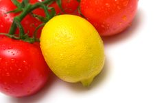 Free Juicy Tomatoes And Lemon Royalty Free Stock Photo - 4873555