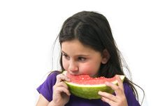Free Girl Eating Watermelon Stock Photo - 4873560