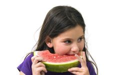 Free Girl Eating Watermelon Royalty Free Stock Photos - 4873568
