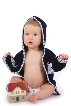 Free Baby With House Model Royalty Free Stock Photography - 4873577