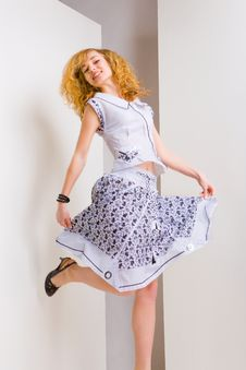 Free Young Woman Jumps And Fun In The Studio Royalty Free Stock Photo - 4873645