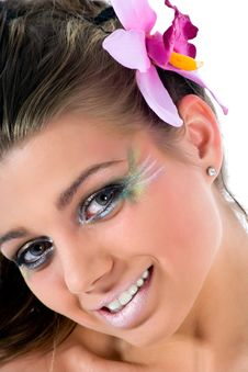 Girl With Face-art Butterfly Paint Royalty Free Stock Image