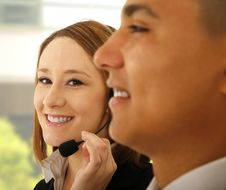 Customer Representative Smiling Royalty Free Stock Photo