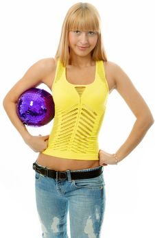 Beauty Woman With Ball Royalty Free Stock Photography