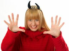 Free Devil With Horns Woman Stock Images - 4874804
