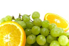Free Grapes And Two Halfs Of Orange Royalty Free Stock Images - 4876239