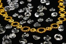 Free Golden Necklace With Crystals Royalty Free Stock Photo - 4876545